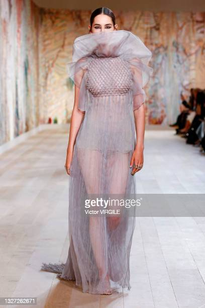 Model walks the runway during the Dior Haute Couture Fall/Winter 2021-2022 fashion show as part of the Paris Haute Couture Fashion Week on July 5,...
