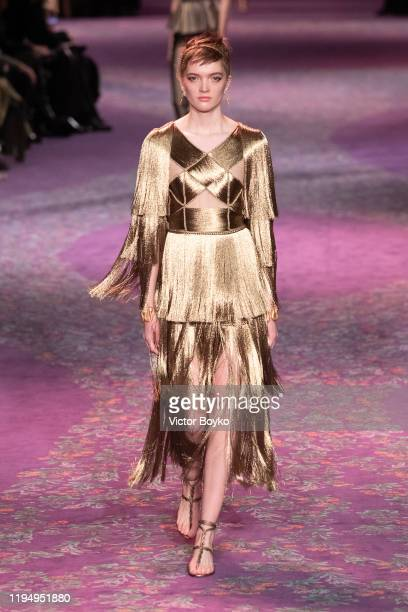 Model walks the runway during the Dior Haute Couture Spring/Summer 2020 show as part of Paris Fashion Week on January 17, 2020 in Paris, France.