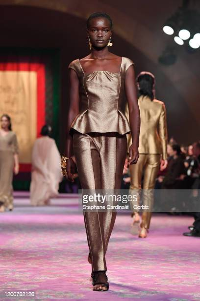 Model walks the runway during the Dior Haute Couture Spring/Summer 2020 show as part of Paris Fashion Week on January 20, 2020 in Paris, France.