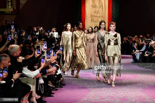 Model walks the runway during the Dior Haute Couture Spring/Summer 2020 fashion show as part of Paris Fashion Week on January 17, 2020 in Paris,...