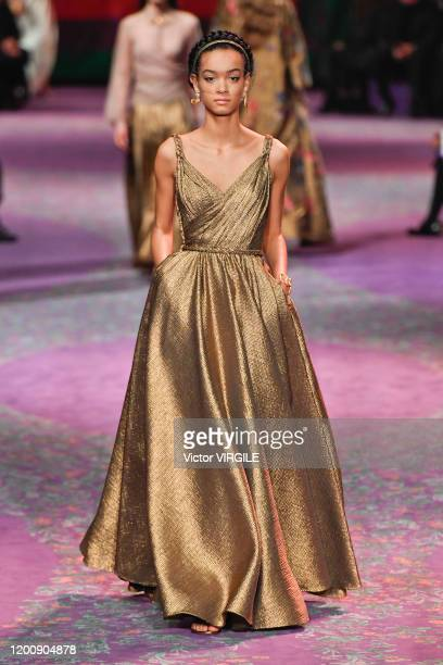A model walks the runway during the Dior Haute Couture Spring/Summer 2020 fashion show as part of Paris Fashion Week on January 17 2020 in Paris...