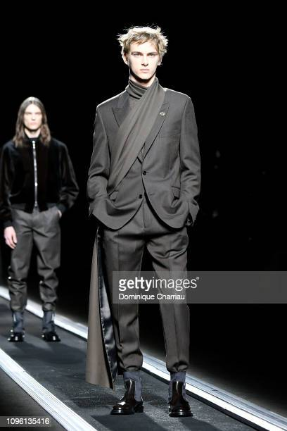 Model walks the runway during the Dior Homme Menswear Fall/Winter 2019-2020 show as part of Paris Fashion Week on January 18, 2019 in Paris, France.