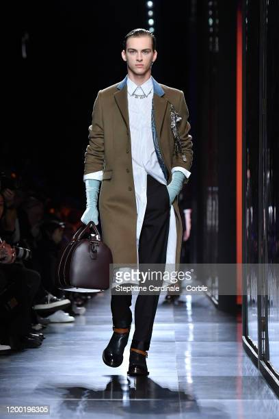 Model walks the runway during the Dior Homme Menswear Fall/Winter 2020-2021 show as part of Paris Fashion Week on January 17, 2020 in Paris, France.