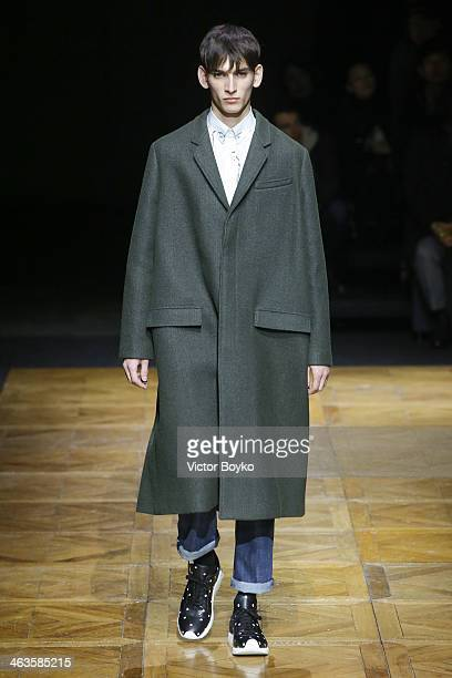 A model walks the runway during the Dior Homme Menswear Fall/Winter 20142015 show as part of Paris Fashion Week on January 18 2014 in Paris France
