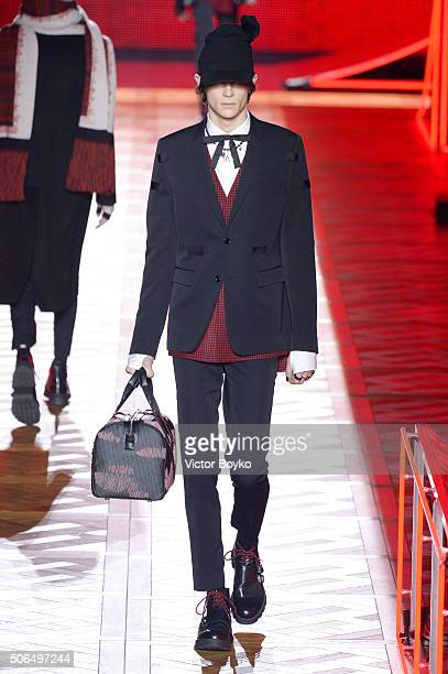 A model walks the runway during the Dior Homme Menswear Fall/Winter 20162017 show as part of Paris Fashion Week on January 23 2016 in Paris France