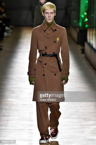 A model walks the runway during the Dior Homme Menswear Fall/Winter 20182019 show as part of Paris Fashion Week January 20 2018 in Paris France