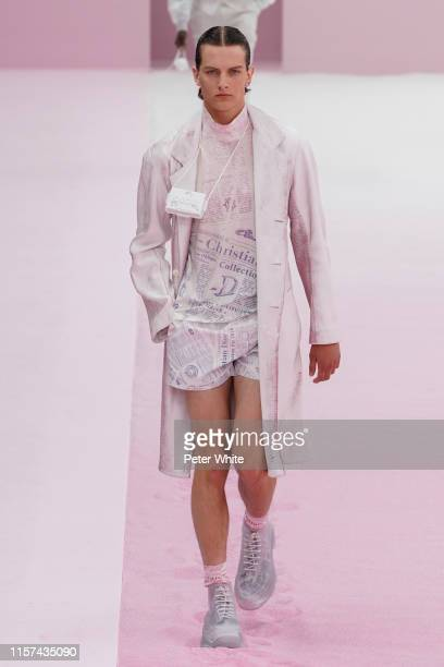 Model walks the runway during the Dior Homme Menswear Spring Summer 2020 show as part of Paris Fashion Week on June 21, 2019 in Paris, France.