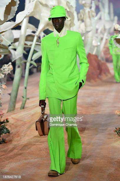 Model walks the runway during the Dior Homme Menswear Spring Summer 2022 show as part of Paris Fashion Week on June 25, 2021 in Paris, France.