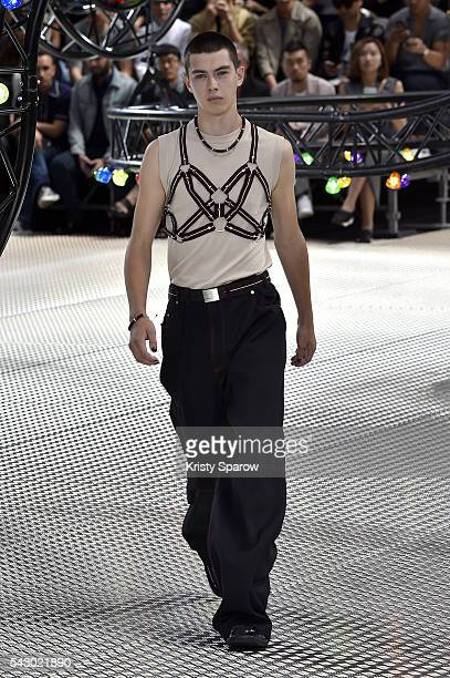 Model walks the runway during the Dior Homme Menswear Spring/Summer 2017 show as part of Paris Fashion Week on June 25, 2016 in Paris, France.