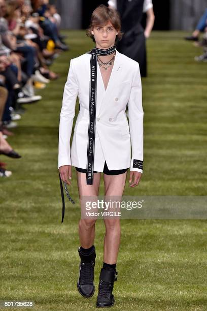 A model walks the runway during the Dior Homme Menswear Spring/Summer 2018 show as part of Paris Fashion Week on June 24 2017 in Paris France