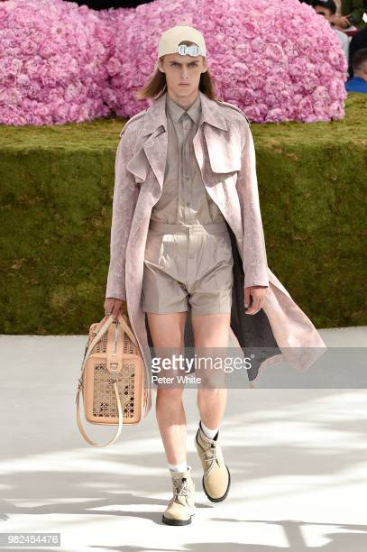 Model walks the runway during the Dior Homme Menswear Spring/Summer 2019 show as part of Paris Fashion Week on June 23, 2018 in Paris, France.