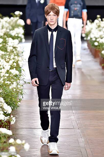 A model walks the runway during the Dior Homme Ready to Wear Menswear Spring/Summer 2016 show as part of Paris Fashion Week on June 27 2015 in Paris...