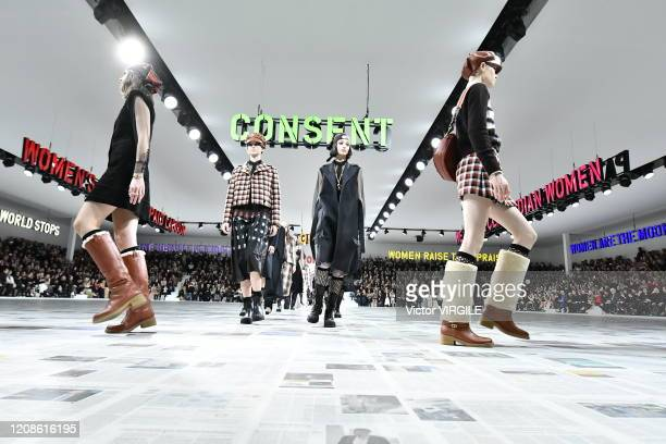 Model walks the runway during the Dior Ready to Wear fashion show as part of the Paris Fashion Week Womenswear Fall/Winter 2020/2021 on February 25,...