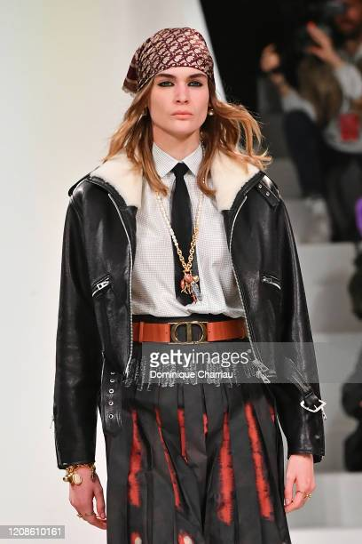 Model walks the runway during the Dior show as part of the Paris Fashion Week Womenswear Fall/Winter 2020/2021 on February 25, 2020 in Paris, France.