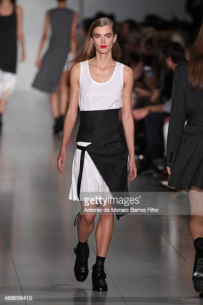 A model walks the runway during the DKNY Women's show as a part of Spring 2016 New York Fashion Week on September 16 2015 in New York City