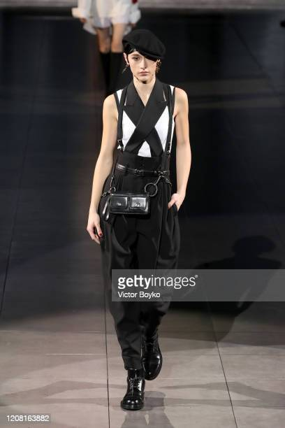 Model walks the runway during the Dolce e Gabbana fashion show as part of Milan Fashion Week Fall/Winter 2020-2021 on February 23, 2020 in Milan,...