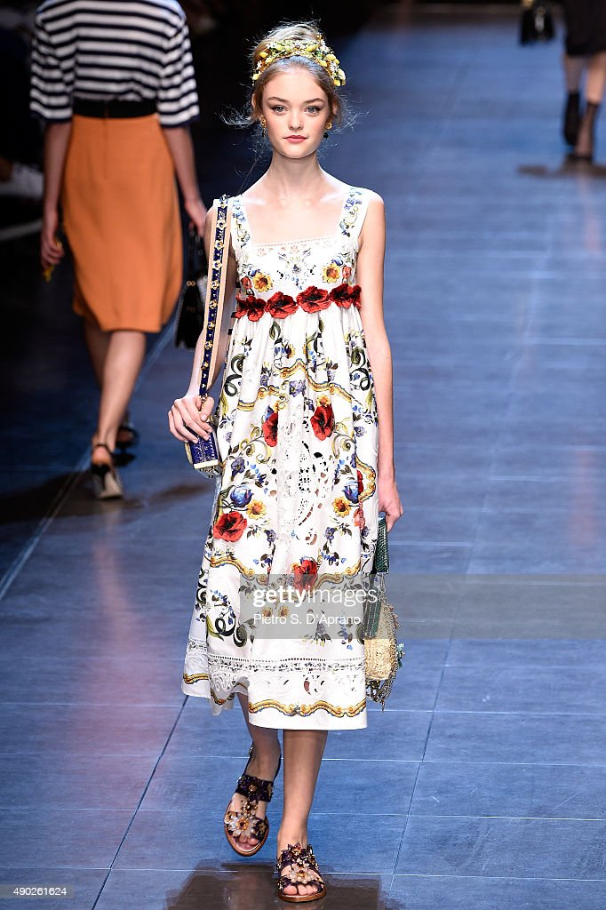 A model walks the runway at the Dolce & Gabbana show