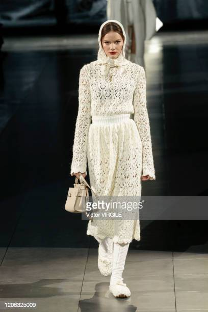 Model walks the runway during the Dolce & Gabbana Ready to Wear fashion show as part of Milan Fashion Week Fall/Winter 2020-2021 on February 23, 2020...