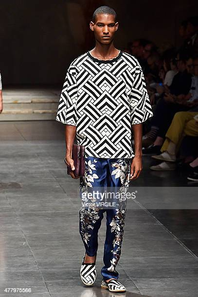 A model walks the runway during the Dolce Gabbana Ready to Wear fashion show as part of Milan Men's Fashion Week Spring/Summer 2016 on June 20 2015...