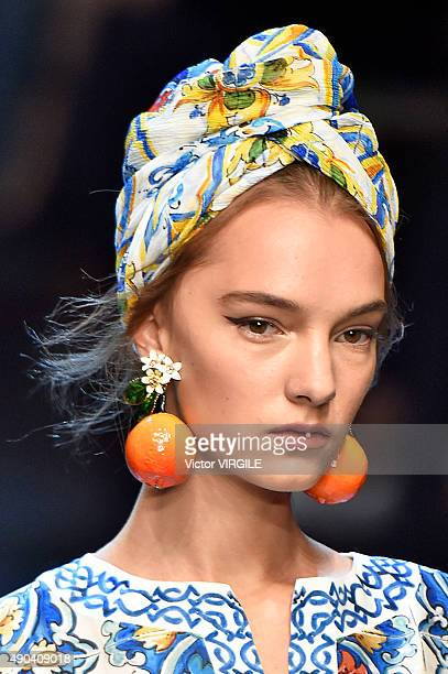 A model walks the runway during the Dolce Gabbana Ready to Wear fashion show as part of Milan Fashion Week Spring/Summer 2016 on September 27 2015 in...