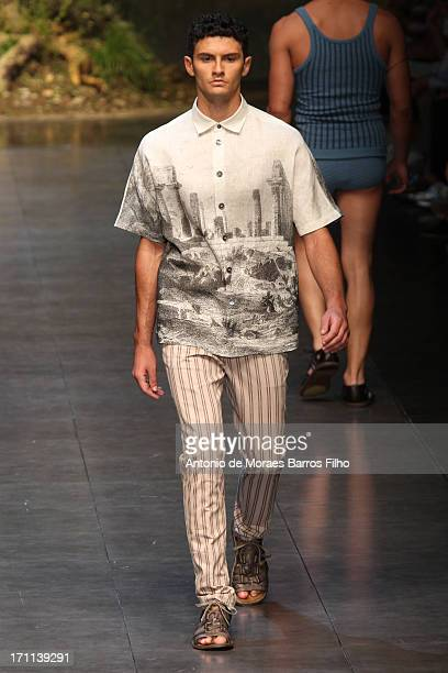 A model walks the runway during the Dolce Gabbana show as a part of MFW S/S 2014 on June 22 2013 in Milan Italy