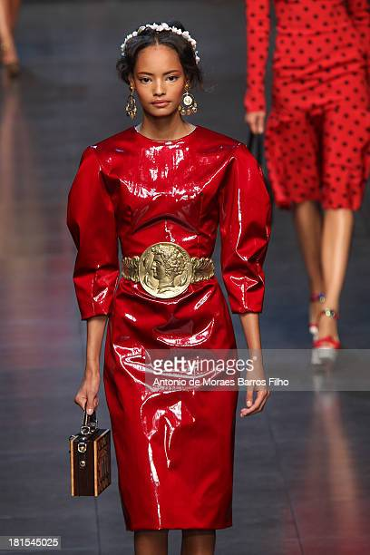 A model walks the runway during the Dolce Gabbana show as a part of Milan Fashion Week Womenswear Spring/Summer 2014 on September 22 2013 in Milan...