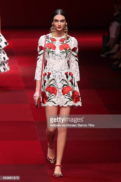A model walks the runway during the Dolce Gabbana show as a part of Milan Fashion Week Womenswear Spring/Summer 2015 on September 21 2014 in Milan...