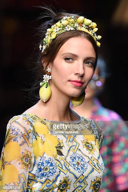 A model walks the runway during the Dolce Gabbana show as a part of Milan Fashion Week Spring/Summer 2016 on September 27 2015 in Milan Italy