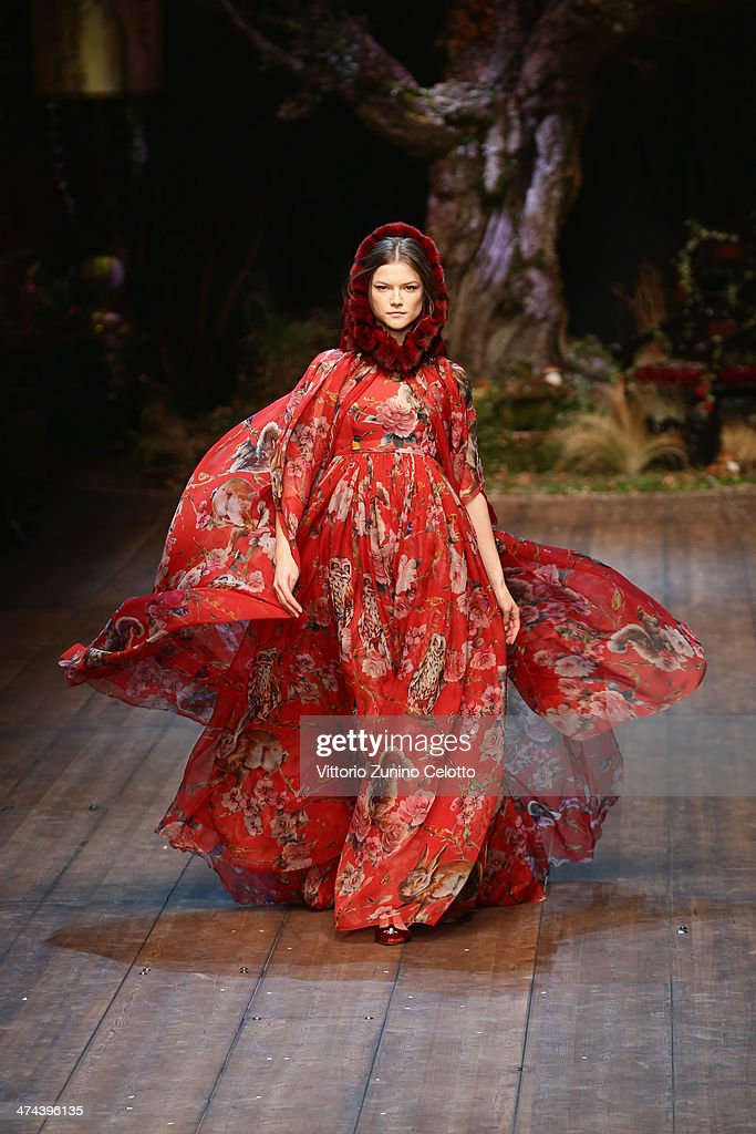 A model walks the runway during the Dolce & Gabbana show as part of Milan Fashion Week Womenswear Autumn/Winter 2014 on February 23, 2014 in Milan, Italy.