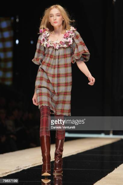 A model walks the runway during the Dolce Gabbana show as part of Milan Fashion Week Autumn/Winter 2008/09 on February 18 2008 in Milan Italy