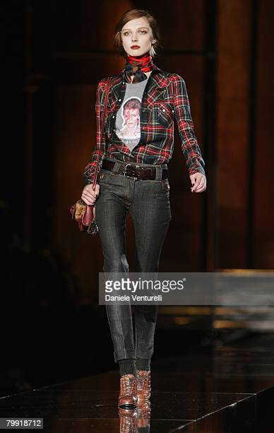 A model walks the runway during the Dolce Gabbana show as part of Milan Fashion Week Autumn/Winter 2008/09 on February 21 2008 in Milan Italy