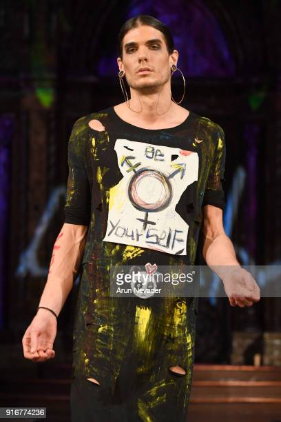 A model walks the runway during the Domingo Zapata presentation at New York Fashion Week Powered by Art Hearts Fashion NYFW at The Angel Orensanz...