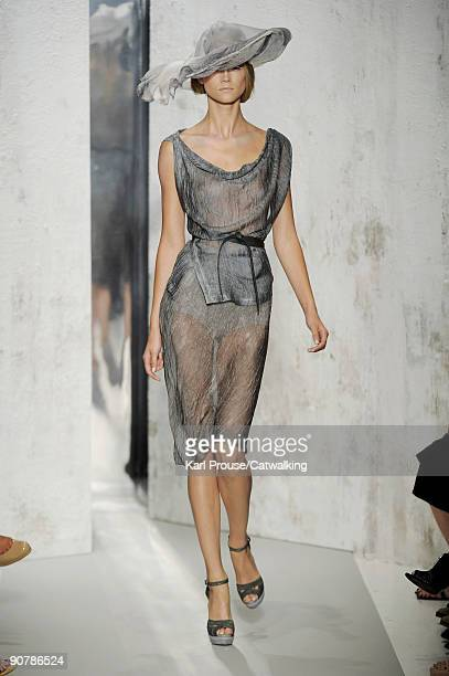 A model walks the runway during the Donna Karan Spring Summer 2010 Ready To Wear show part of MercedesBenz Fashion Week 711 Greenwich Street on...