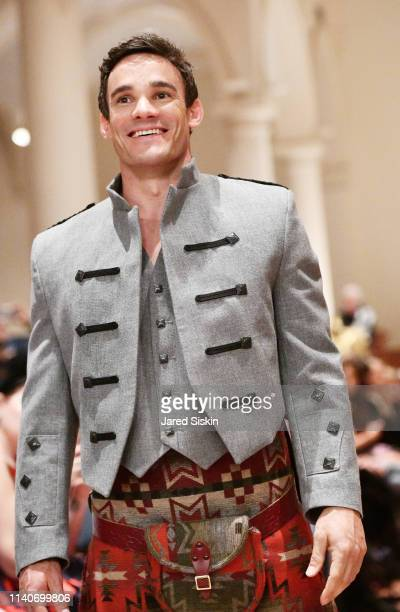 A model walks the runway during the Dressed To Kilt celebrity fashion show and cocktail party on April 05 2019 at Church of the Holy Apostles in New...