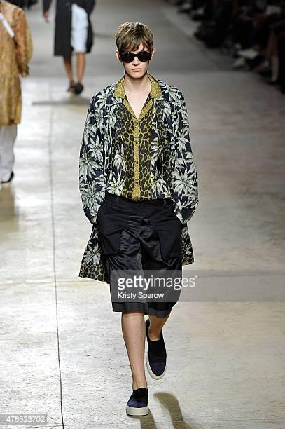 A model walks the runway during the Dries Van Noten Menswear Spring/Summer 2016 show as part of Paris Fashion Week on June 25 2015 in Paris France