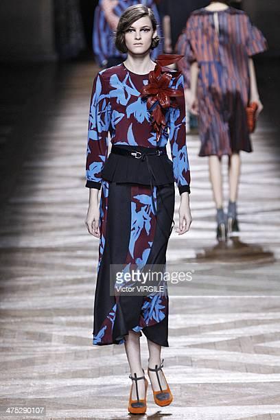 A model walks the runway during the Dries Van Noten Ready to Wear Fall/Winter 20142015 show as part of the Paris Fashion Week Womenswear Fall/Winter...