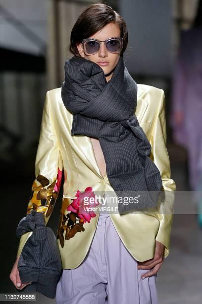 A model walks the runway during the Dries Van Noten Ready to Wear Fall/Winter 20192020 fashion show as part of the Paris Fashion Week Womenswear...