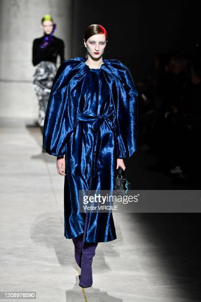 Model walks the runway during the Dries Van Noten Ready to Wear fashion show as part of the Paris Fashion Week Womenswear Fall/Winter 2020/2021 on...