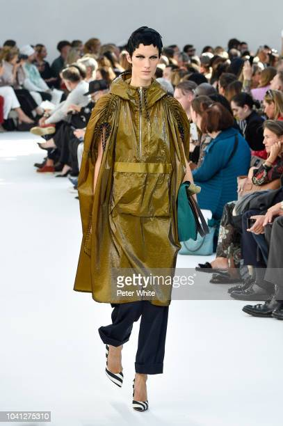 A model walks the runway during the Dries Van Noten show as part of the Paris Fashion Week Womenswear Spring/Summer 2019 on September 26 2018 in...
