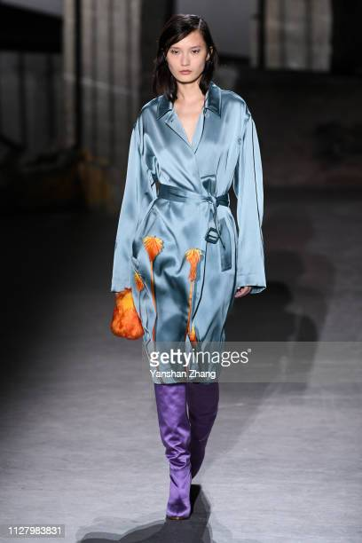 A model walks the runway during the Dries Van Noten show as part of the Paris Fashion Week Womenswear Fall/Winter 2019/2020 on February 27 2019 in...