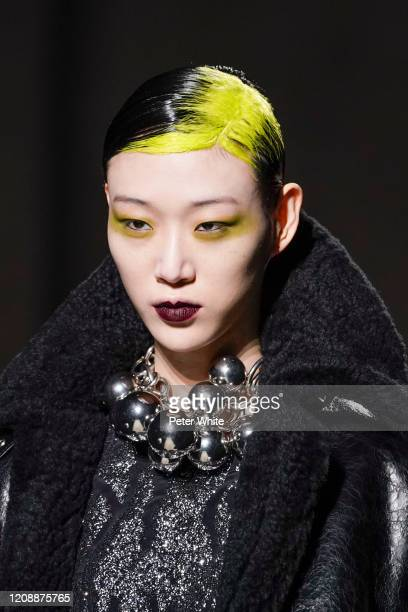 Model walks the runway during the Dries Van Noten show as part of the Paris Fashion Week Womenswear Fall/Winter 2020/2021 on February 26, 2020 in...