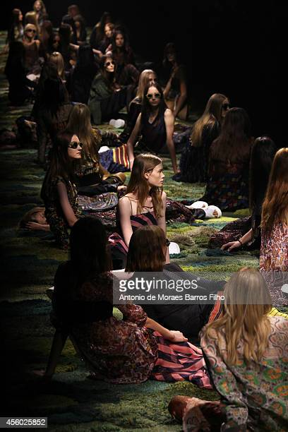 A model walks the runway during the Dries Van Noten show as part of the Paris Fashion Week Womenswear Spring/Summer 2015 on September 24 2014 in...