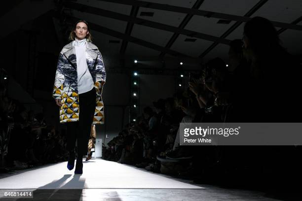 Model walks the runway during the Dries Van Noten show as part of the Paris Fashion Week Womenswear Fall/Winter 2017/2018 on March 1, 2017 in Paris,...