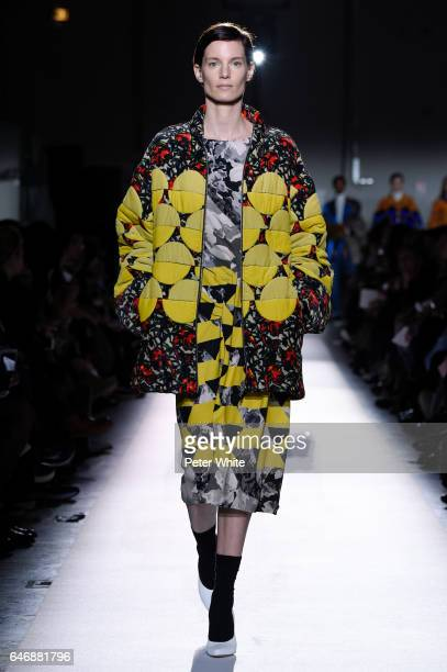 A model walks the runway during the Dries Van Noten show as part of the Paris Fashion Week Womenswear Fall/Winter 2017/2018 on March 1 2017 in Paris...