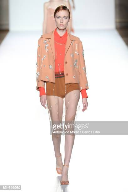 A model walks the runway during the Dries Van Noten show as part of the Paris Fashion Week Womenswear Spring/Summer 2018 on September 27 2017 in...