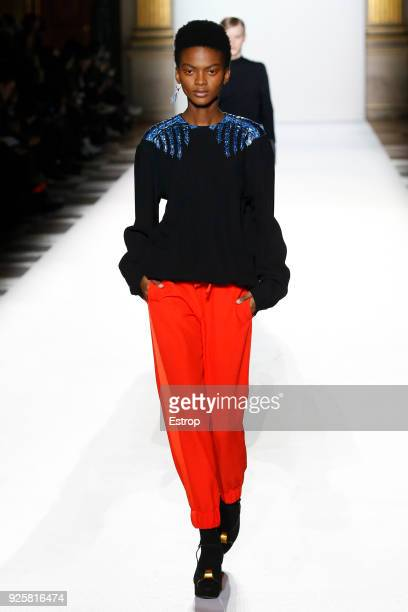 A model walks the runway during the Dries Van Noten show as part of the Paris Fashion Week Womenswear Fall/Winter 2018/2019 on February 28 2018 in...