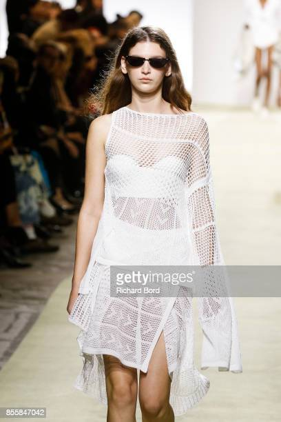 A model walks the runway during the Drome show at Garage Lubeck as part of Paris Fashion Week Womenswear Spring/Summer 2018 on September 30 2017 in...