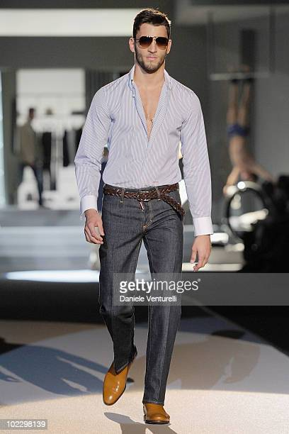 Model walks the runway during the DSquared2 Milan Fashion Week Menswear Spring/Summer 2011 show on June 22, 2010 in Milan, Italy.