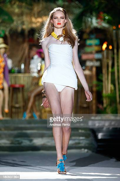 A model walks the runway during the DSquared2 show as a part of Milan Fashion Week Womenswear Spring/Summer 2014 on September 18 2013 in Milan Italy