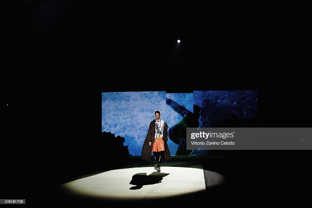 A model walks the runway during the DSquared2 show as part of Milan Men's Fashion Week Spring/Summer 2016 on June 23, 2015 in Milan, Italy.